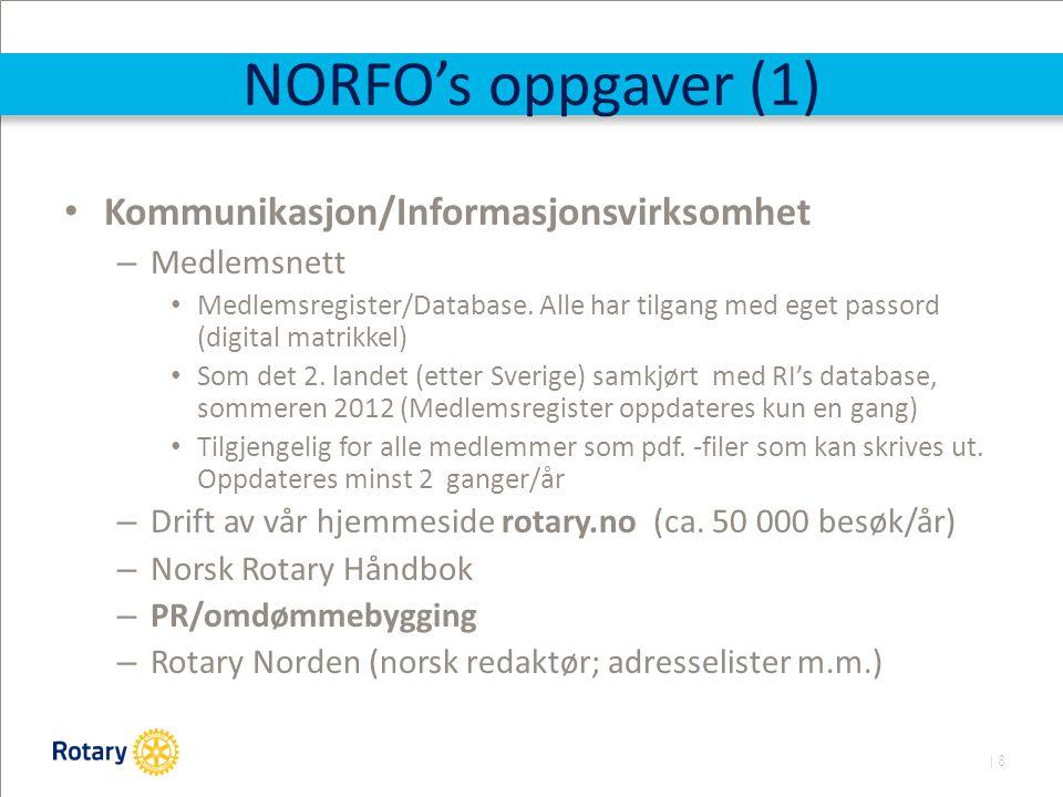 | 8 NORFO's oppgaver (1) Kommunikasjon/Informasjonsvirksomhet – Medlemsnett Medlemsregister/Database.