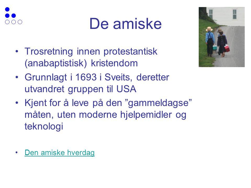 De amiske Trosretning innen protestantisk (anabaptistisk) kristendom Grunnlagt i 1693 i Sveits, deretter utvandret gruppen til USA Kjent for å leve på den gammeldagse måten, uten moderne hjelpemidler og teknologi Den amiske hverdag