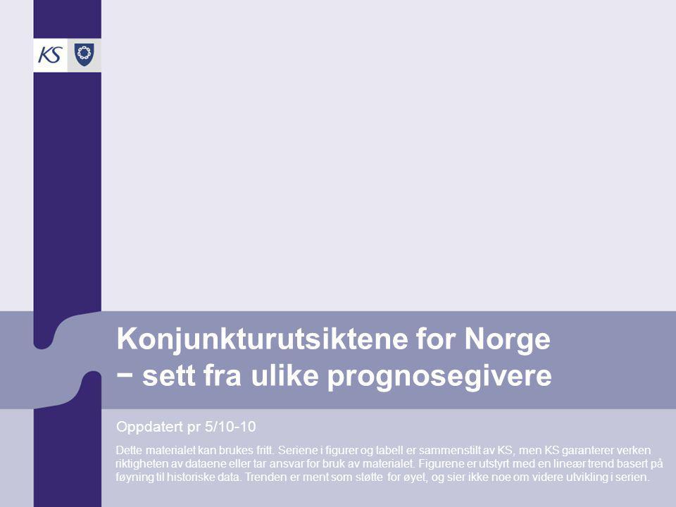 Konjunkturutsiktene for Norge − sett fra ulike prognosegivere Oppdatert pr 5/10-10 Dette materialet kan brukes fritt. Seriene i figurer og tabell er s