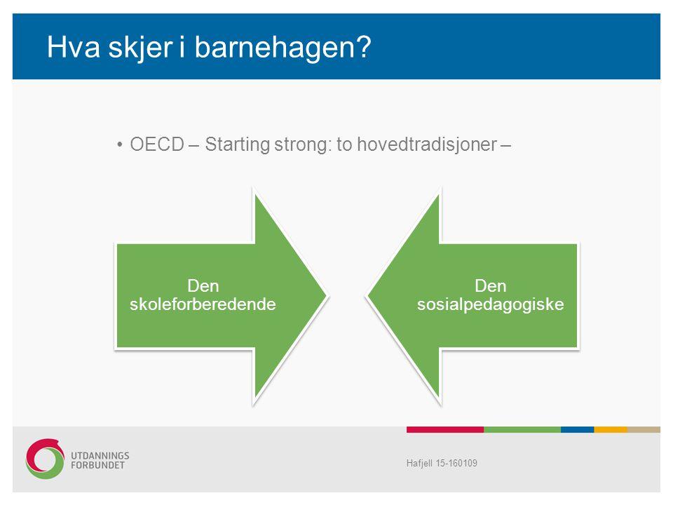 Hva skjer i barnehagen? OECD – Starting strong: to hovedtradisjoner – Hafjell 15-160109 Den skoleforberedende Den sosialpedagogiske