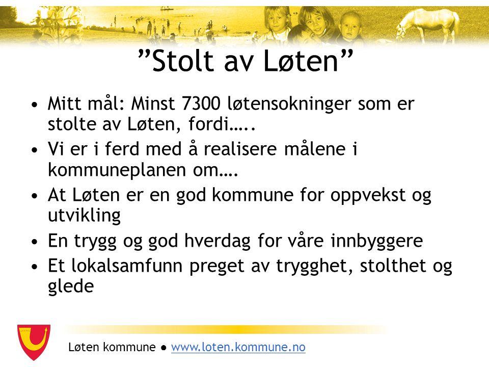 """Løten kommune ● www.loten.kommune.nowww.loten.kommune.no """"Stolt av Løten"""" Mitt mål: Minst 7300 løtensokninger som er stolte av Løten, fordi….. Vi er i"""