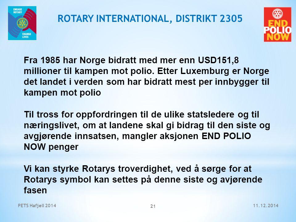 11.12.2014PETS Hafjell 2014 21 ROTARY INTERNATIONAL, DISTRIKT 2305 Fra 1985 har Norge bidratt med mer enn USD151,8 millioner til kampen mot polio.