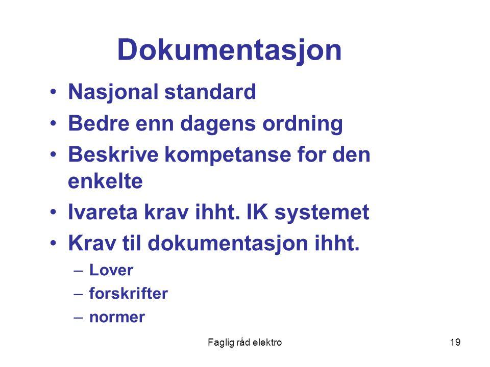 Faglig råd elektro19 Dokumentasjon Nasjonal standard Bedre enn dagens ordning Beskrive kompetanse for den enkelte Ivareta krav ihht.