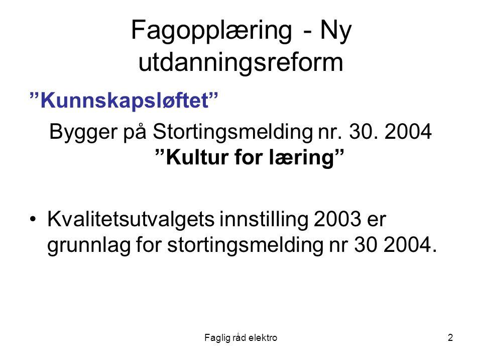 Faglig råd elektro2 Fagopplæring - Ny utdanningsreform Kunnskapsløftet Bygger på Stortingsmelding nr.