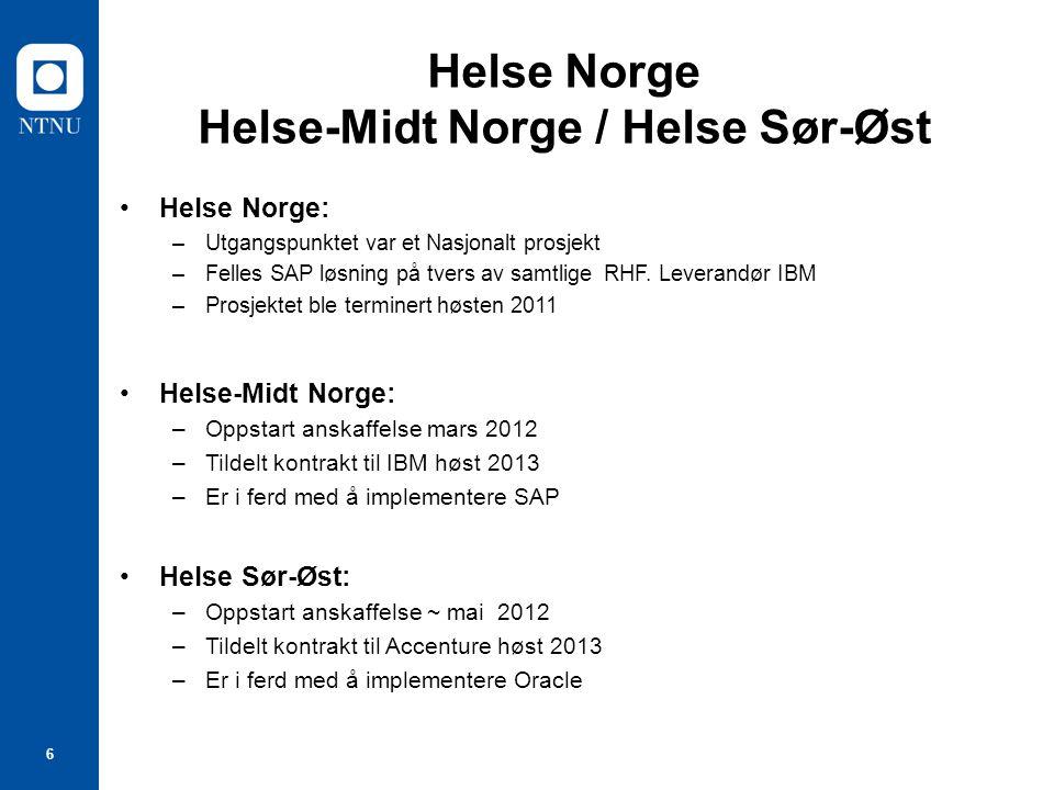 6 Helse Norge Helse-Midt Norge / Helse Sør-Øst Helse Norge: –Utgangspunktet var et Nasjonalt prosjekt –Felles SAP løsning på tvers av samtlige RHF. Le