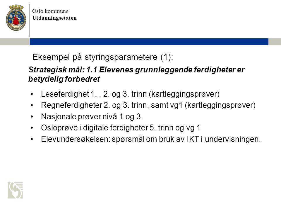Oslo kommune Utdanningsetaten Eksempel på styringsparametere (1): Leseferdighet 1., 2. og 3. trinn (kartleggingsprøver) Regneferdigheter 2. og 3. trin