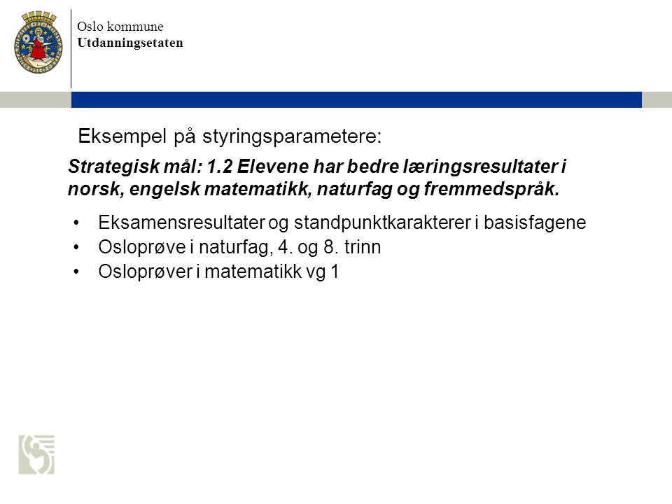 Oslo kommune Utdanningsetaten Eksempel på styringsparametere: Eksamensresultater og standpunktkarakterer i basisfagene Osloprøve i naturfag, 4. og 8.