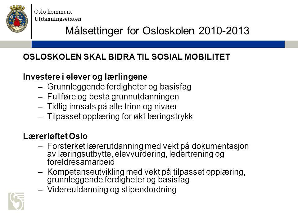 Oslo kommune Utdanningsetaten Målsettinger for Osloskolen 2010-2013 OSLOSKOLEN SKAL BIDRA TIL SOSIAL MOBILITET Investere i elever og lærlingene –Grunn