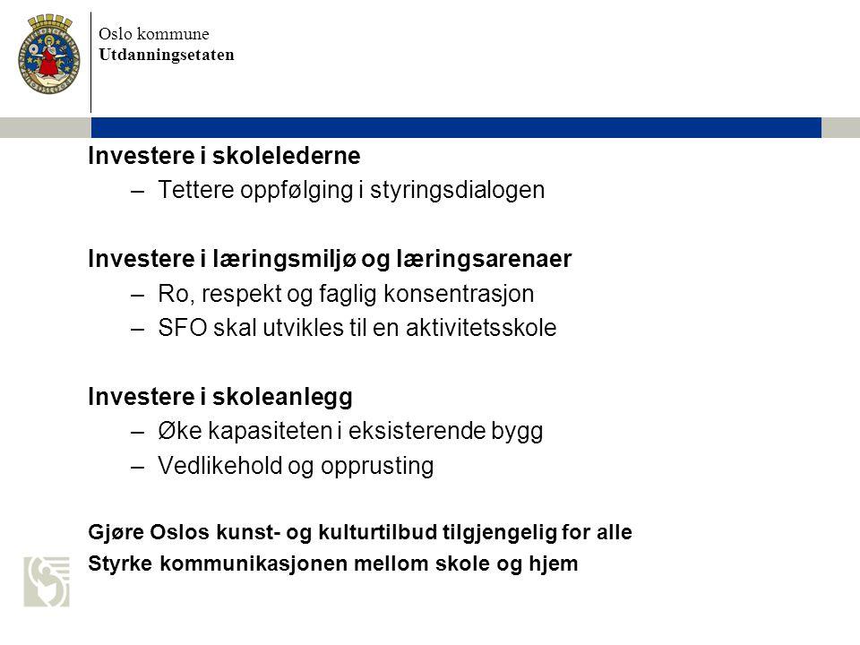 Oslo kommune Utdanningsetaten Investere i skolelederne –Tettere oppfølging i styringsdialogen Investere i læringsmiljø og læringsarenaer –Ro, respekt