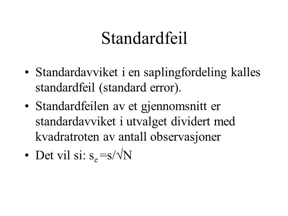 Standardfeil Standardavviket i en saplingfordeling kalles standardfeil (standard error).