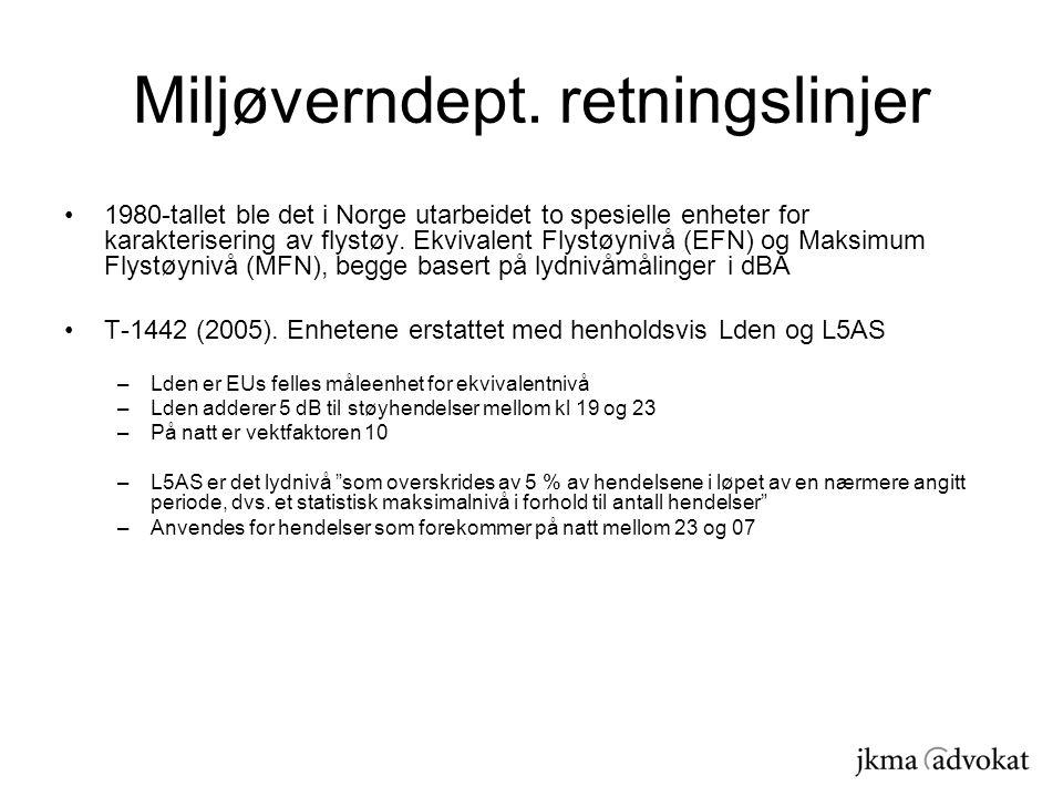 Miljøverndept. retningslinjer 1980-tallet ble det i Norge utarbeidet to spesielle enheter for karakterisering av flystøy. Ekvivalent Flystøynivå (EFN)