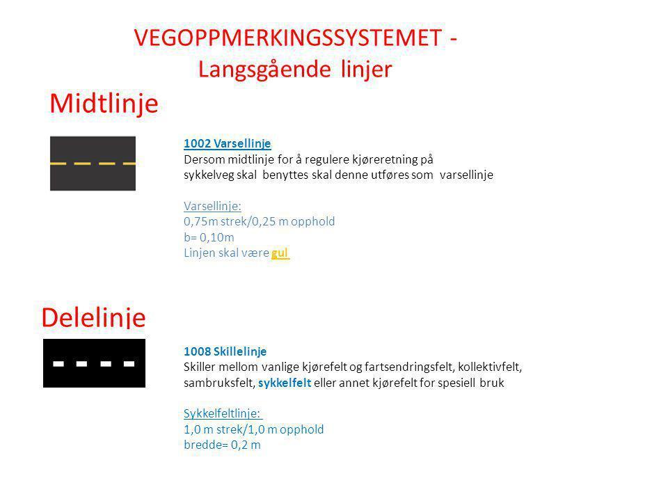 VEGOPPMERKINGSSYSTEMET - Langsgående linjer Midtlinje Delelinje 1002 Varsellinje Dersom midtlinje for å regulere kjøreretning på sykkelveg skal benytt