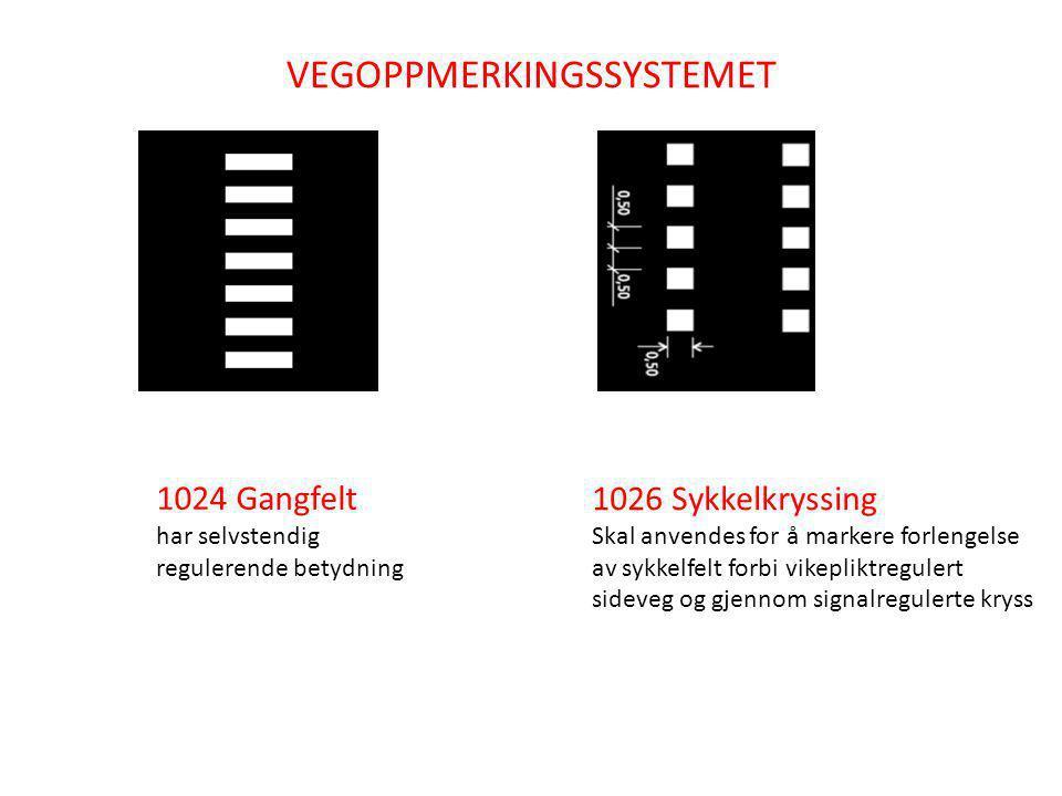 1026 Sykkelkryssing inntil gangfelt Oppmerkingen 1026 skal ikke anvendes der syklende har vikeplikt
