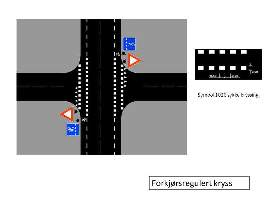 Signalregulerte kryss med sykkelboks og tilbaketrukket stopplinje for motorvogn Forskjørsveg - Inkluderer sykkelkryssing Ikke forkjørsveg - Ekskluderer sykkelkryssing