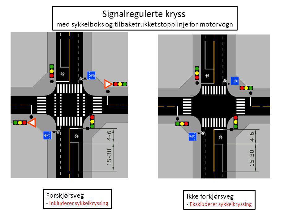 Signalregulerte kryss med tilbaketrukket stopplinje for motorvogn Forskjørsveg - Inkluderer sykkelkryssing