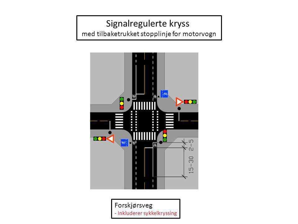 Signalregulert kryss med sykkelboks og midtstilt sykkelfelt Ikke forkjørsveg - Ekskluderer sykkelkryssing