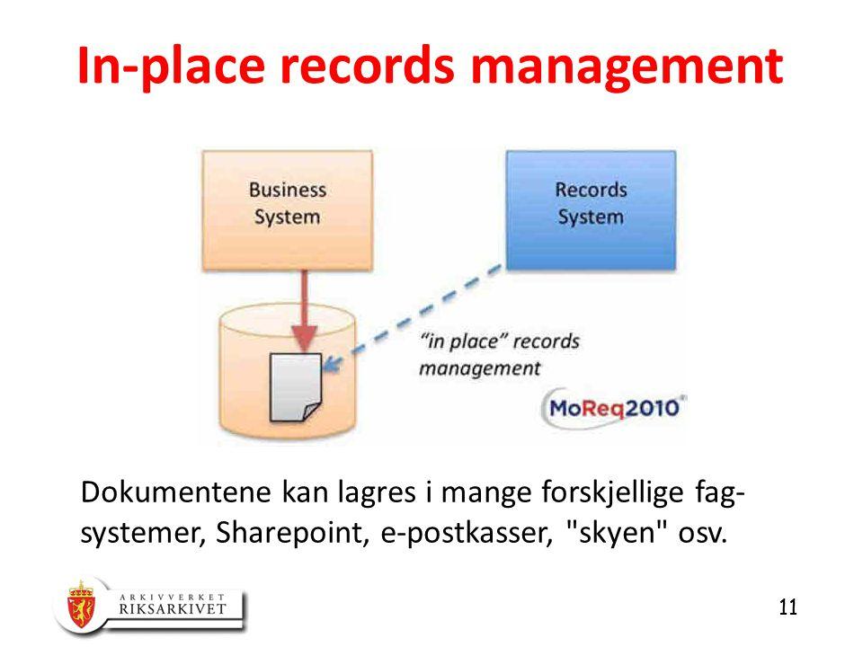 11 In-place records management Dokumentene kan lagres i mange forskjellige fag- systemer, Sharepoint, e-postkasser, skyen osv.