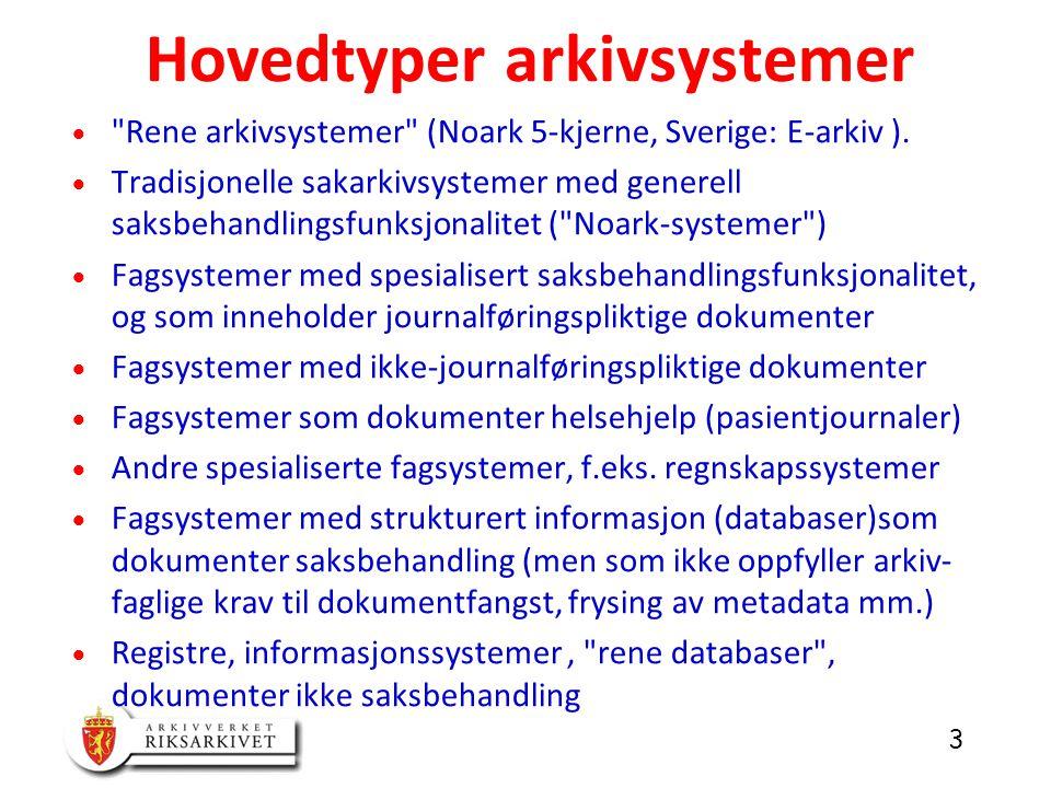3  Rene arkivsystemer (Noark 5-kjerne, Sverige: E-arkiv ).