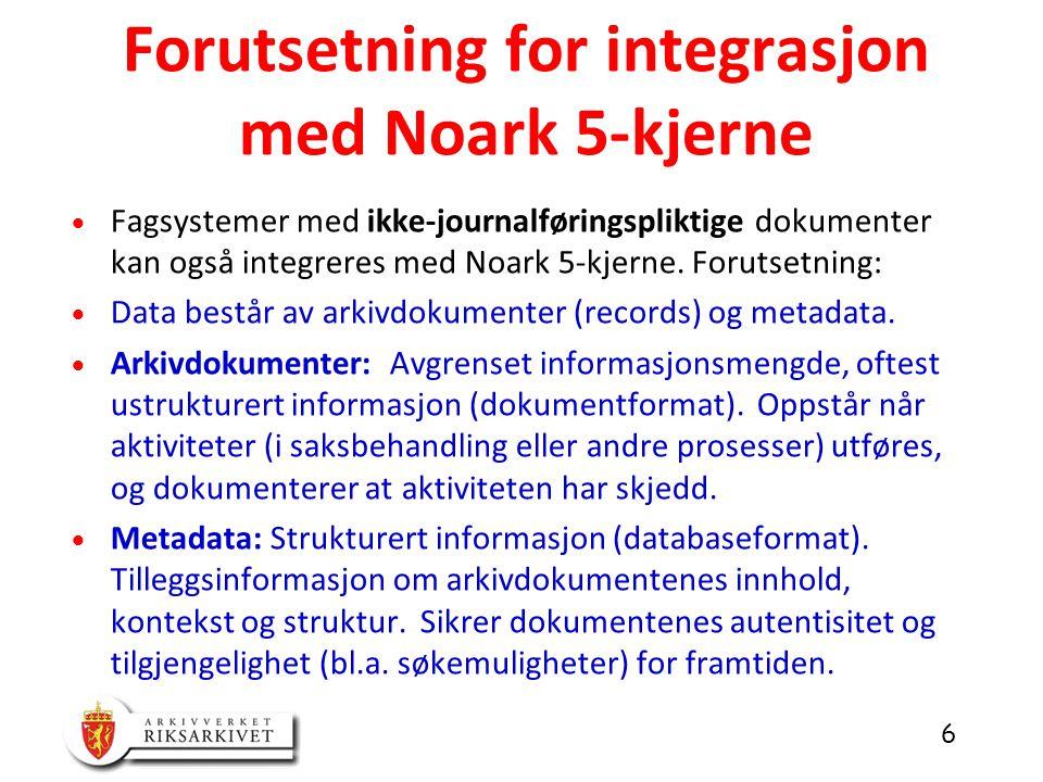6  Fagsystemer med ikke-journalføringspliktige dokumenter kan også integreres med Noark 5-kjerne.