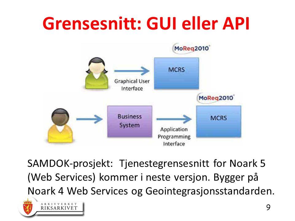 9 Grensesnitt: GUI eller API SAMDOK-prosjekt: Tjenestegrensesnitt for Noark 5 (Web Services) kommer i neste versjon.