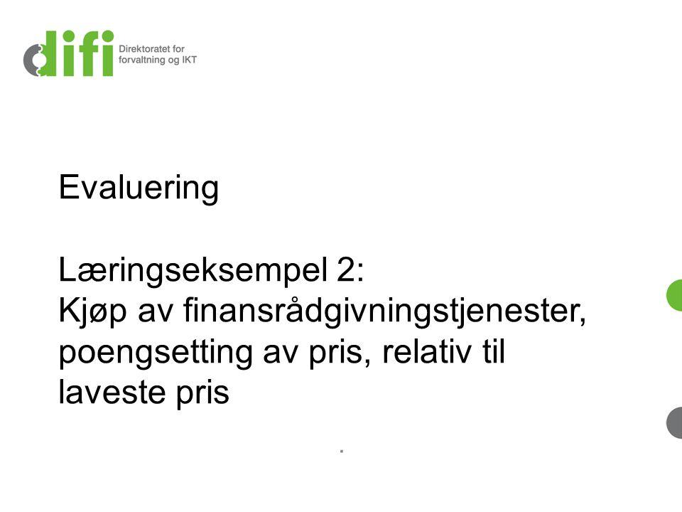 Evaluering Læringseksempel 2: Kjøp av finansrådgivningstjenester, poengsetting av pris, relativ til laveste pris.