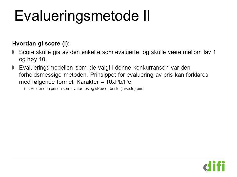 Evalueringsmetode II Hvordan gi score (I): Score skulle gis av den enkelte som evaluerte, og skulle være mellom lav 1 og høy 10. Evalueringsmodellen s