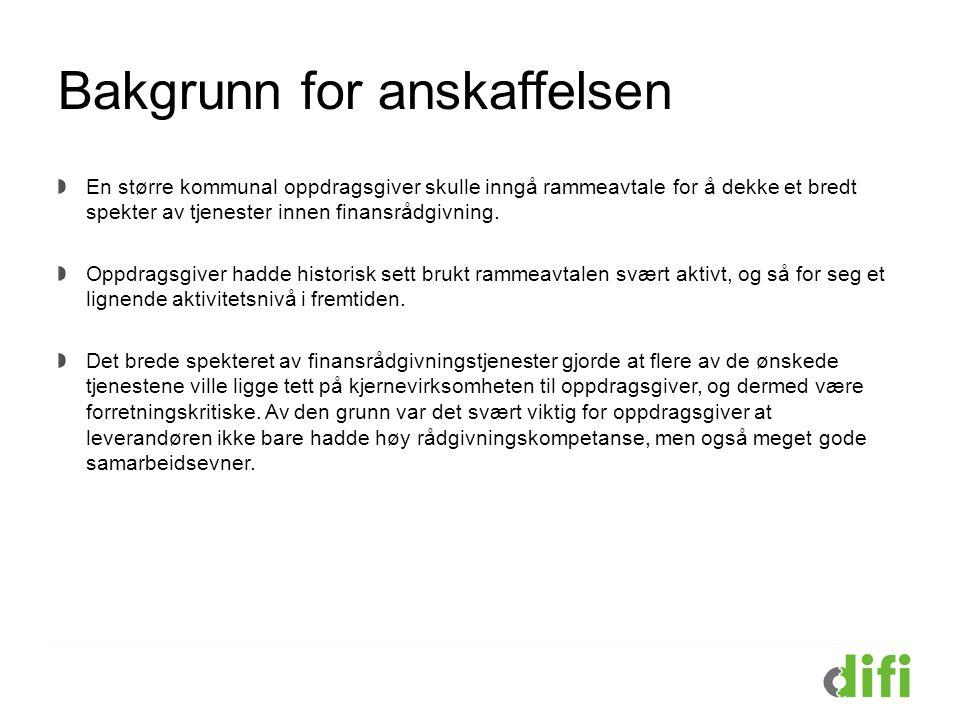 Gjennomføring av konkurransen Anskaffelsen ble gjennomført i henhold til lov 16.