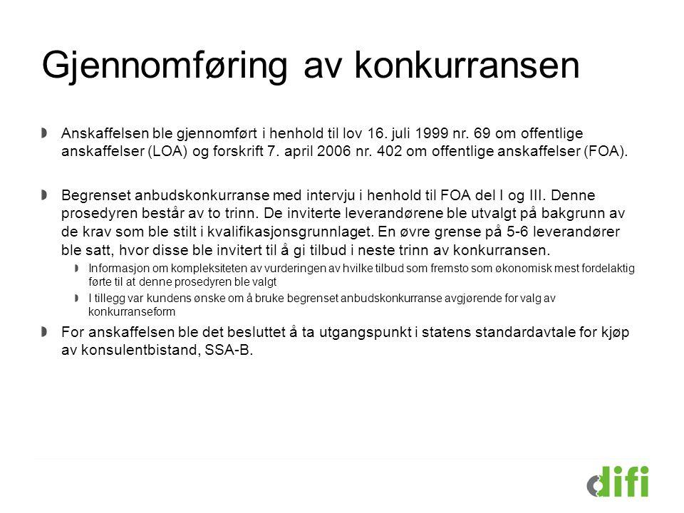 Gjennomføring av konkurransen Anskaffelsen ble gjennomført i henhold til lov 16. juli 1999 nr. 69 om offentlige anskaffelser (LOA) og forskrift 7. apr