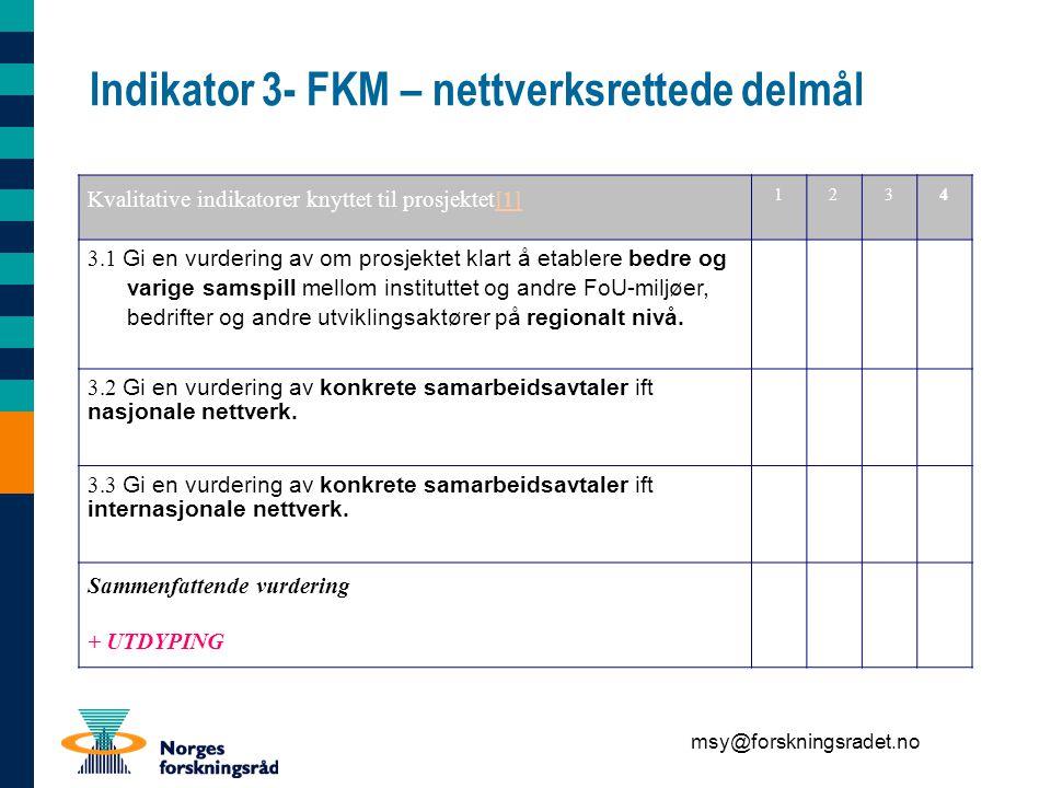 msy@forskningsradet.no Indikator 3- FKM – nettverksrettede delmål Kvalitative indikatorer knyttet til prosjektet[1][1] 1234 3.1 Gi en vurdering av om prosjektet klart å etablere bedre og varige samspill mellom instituttet og andre FoU-miljøer, bedrifter og andre utviklingsaktører på regionalt nivå.