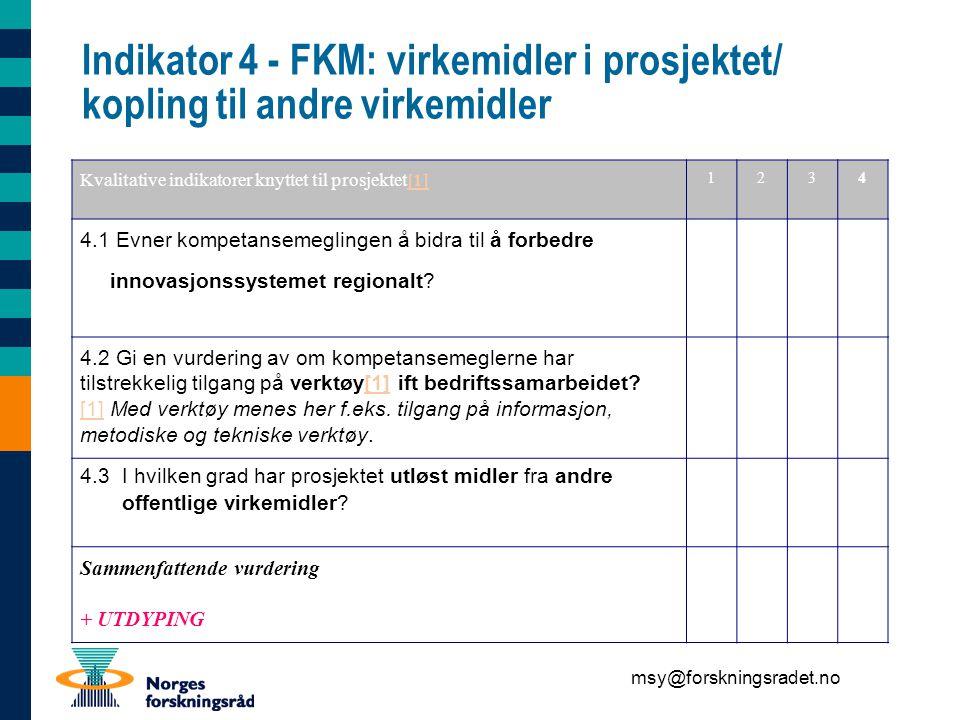 msy@forskningsradet.no Indikator 4 - FKM: virkemidler i prosjektet/ kopling til andre virkemidler Kvalitative indikatorer knyttet til prosjektet[1][1] 1234 4.1 Evner kompetansemeglingen å bidra til å forbedre innovasjonssystemet regionalt.