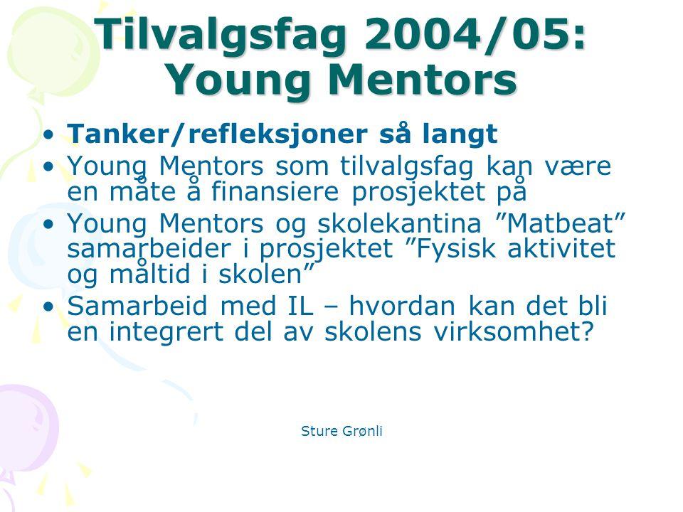 Tilvalgsfag 2004/05: Young Mentors Tanker/refleksjoner så langt Young Mentors som tilvalgsfag kan være en måte å finansiere prosjektet på Young Mentors og skolekantina Matbeat samarbeider i prosjektet Fysisk aktivitet og måltid i skolen Samarbeid med IL – hvordan kan det bli en integrert del av skolens virksomhet.