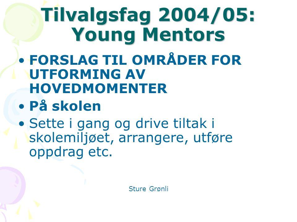 Tilvalgsfag 2004/05: Young Mentors FORSLAG TIL OMRÅDER FOR UTFORMING AV HOVEDMOMENTER På skolen Sette i gang og drive tiltak i skolemiljøet, arrangere, utføre oppdrag etc.