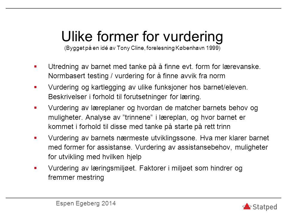 Ulike former for vurdering (Bygget på en idé av Tony Cline, forelesning København 1999)  Utredning av barnet med tanke på å finne evt. form for lærev