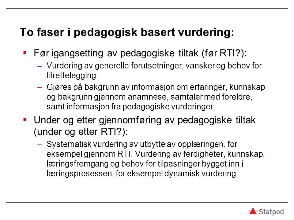 To faser i pedagogisk basert vurdering:  Før igangsetting av pedagogiske tiltak (før RTI?): –Vurdering av generelle forutsetninger, vansker og behov