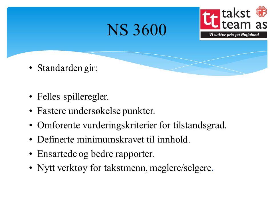 NS 3600 Standarden gir: Felles spilleregler.Fastere undersøkelse punkter.