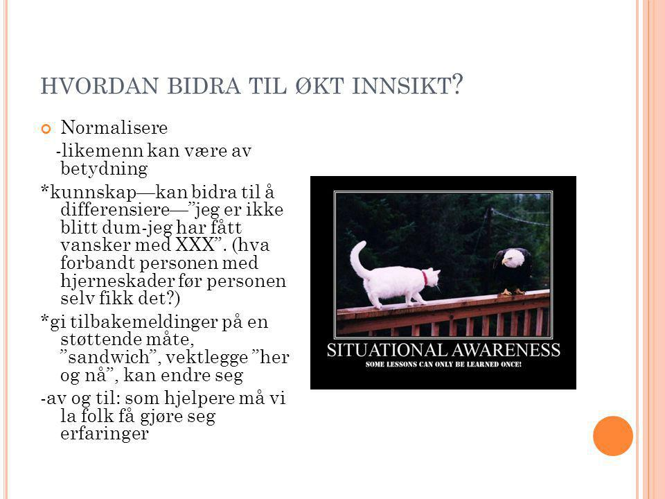 HVORDAN BIDRA TIL ØKT INNSIKT .