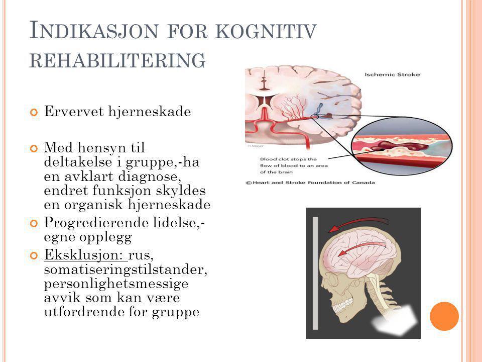 I NDIKASJON FOR KOGNITIV REHABILITERING Ervervet hjerneskade Med hensyn til deltakelse i gruppe,-ha en avklart diagnose, endret funksjon skyldes en organisk hjerneskade Progredierende lidelse,- egne opplegg Eksklusjon: rus, somatiseringstilstander, personlighetsmessige avvik som kan være utfordrende for gruppe