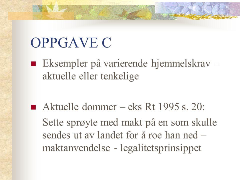 OPPGAVE C Eksempler på varierende hjemmelskrav – aktuelle eller tenkelige Aktuelle dommer – eks Rt 1995 s.