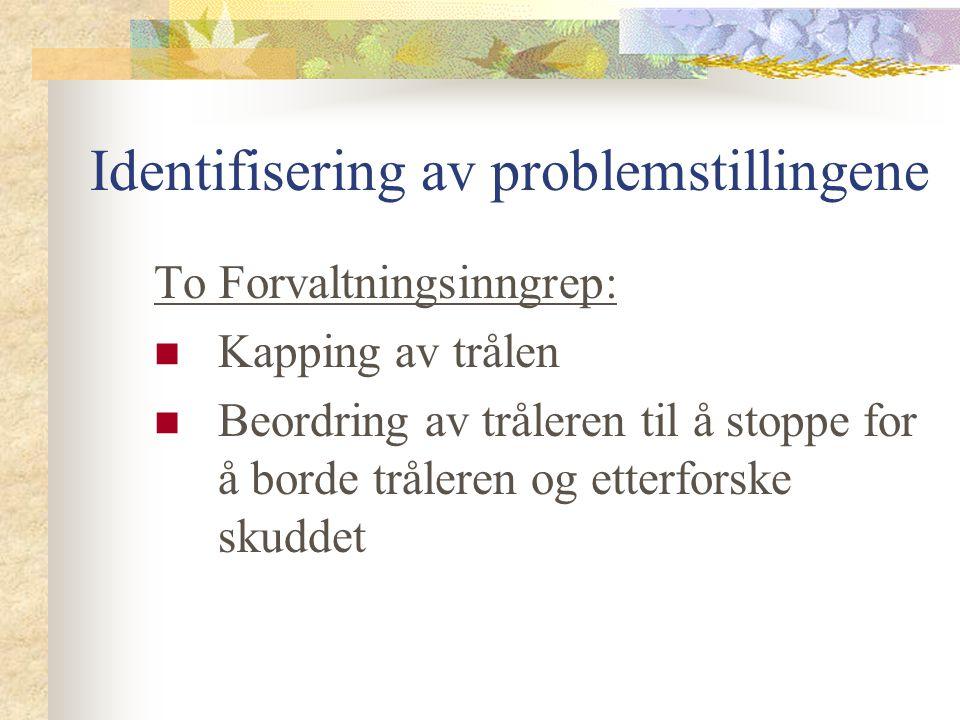 Identifisering av problemstillingene To Forvaltningsinngrep: Kapping av trålen Beordring av tråleren til å stoppe for å borde tråleren og etterforske skuddet