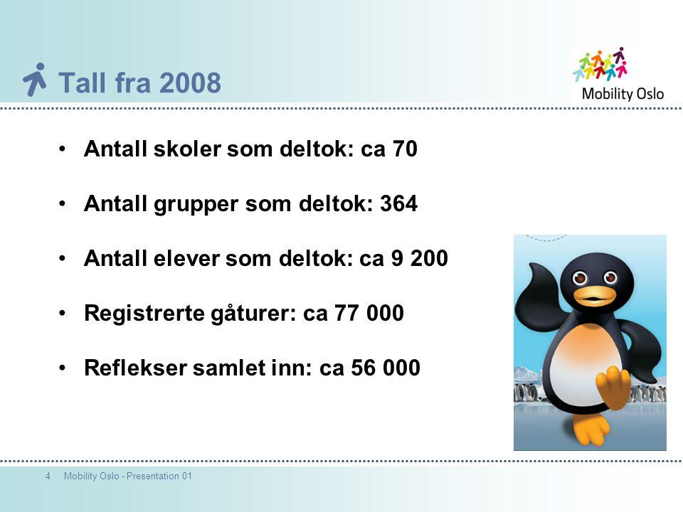 4Mobility Oslo - Presentation 01 Tall fra 2008 Antall skoler som deltok: ca 70 Antall grupper som deltok: 364 Antall elever som deltok: ca 9 200 Registrerte gåturer: ca 77 000 Reflekser samlet inn: ca 56 000