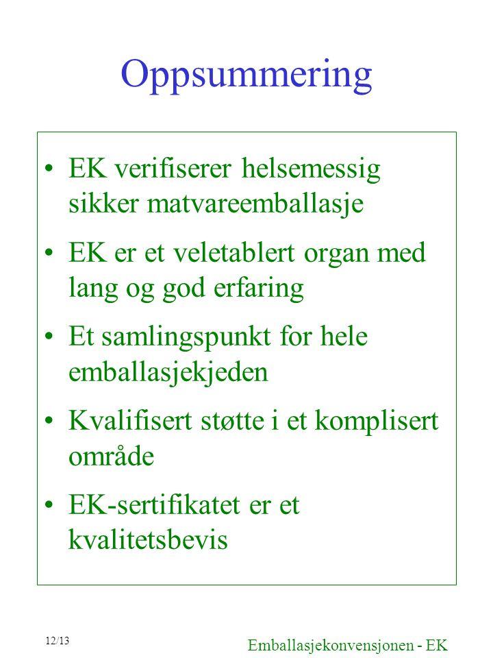 Oppsummering EK verifiserer helsemessig sikker matvareemballasje EK er et veletablert organ med lang og god erfaring Et samlingspunkt for hele emballa