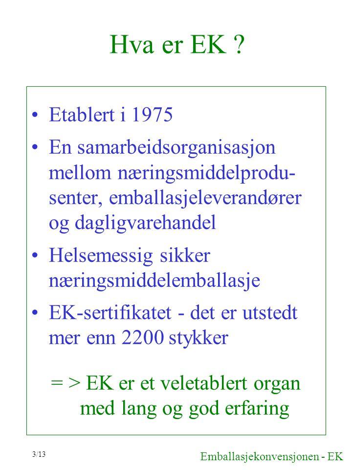 3/13 Hva er EK ? Etablert i 1975 En samarbeidsorganisasjon mellom næringsmiddelprodu- senter, emballasjeleverandører og dagligvarehandel Helsemessig s