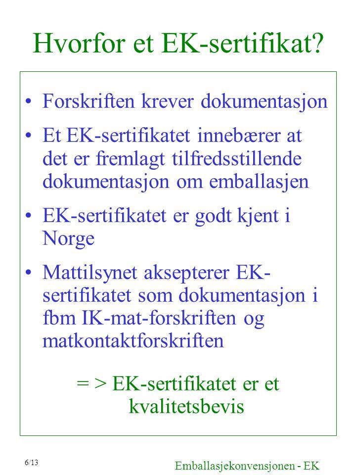 Hvorfor et EK-sertifikat? Forskriften krever dokumentasjon Et EK-sertifikatet innebærer at det er fremlagt tilfredsstillende dokumentasjon om emballas