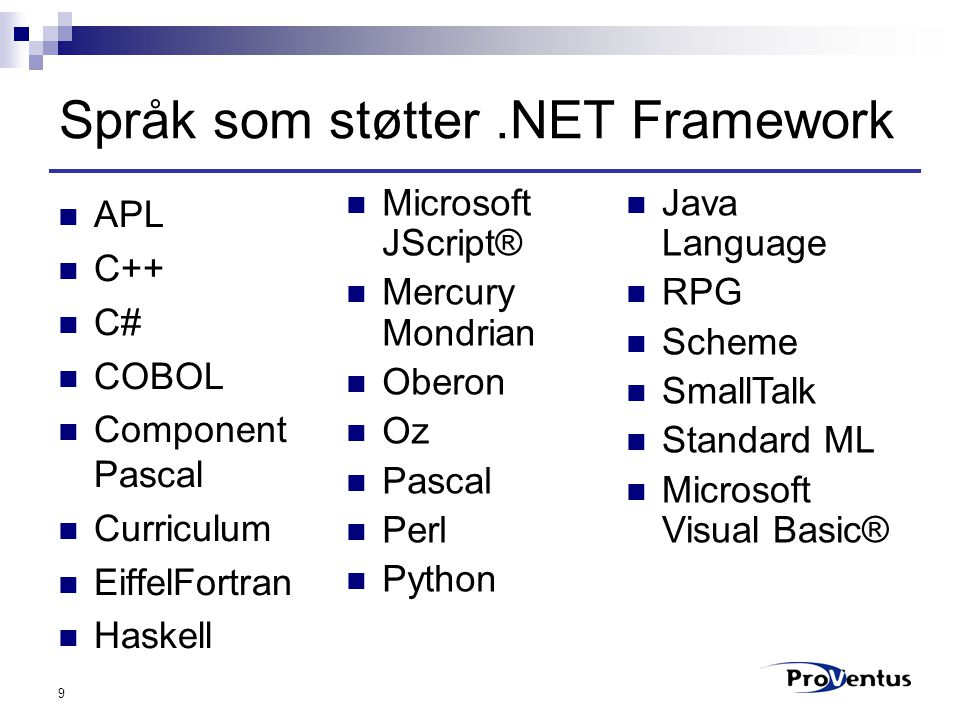 9 Språk som støtter.NET Framework APL C++ C# COBOL Component Pascal Curriculum EiffelFortran Haskell Microsoft JScript® Mercury Mondrian Oberon Oz Pascal Perl Python Java Language RPG Scheme SmallTalk Standard ML Microsoft Visual Basic®
