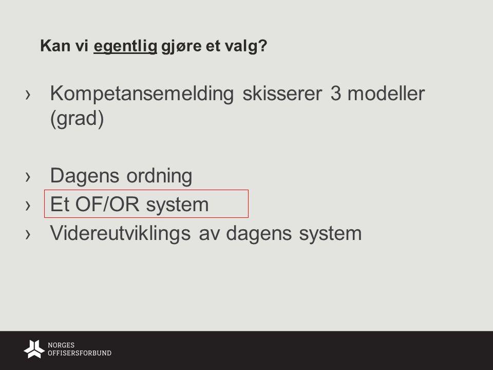 Kan vi egentlig gjøre et valg? ›Kompetansemelding skisserer 3 modeller (grad) ›Dagens ordning ›Et OF/OR system ›Videreutviklings av dagens system