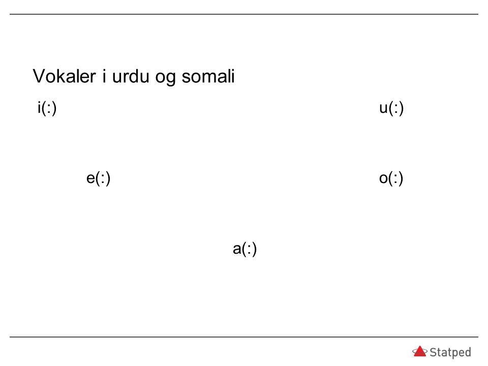 Vokaler i urdu og somali i(:)u(:) e(:)o(:) a(:)
