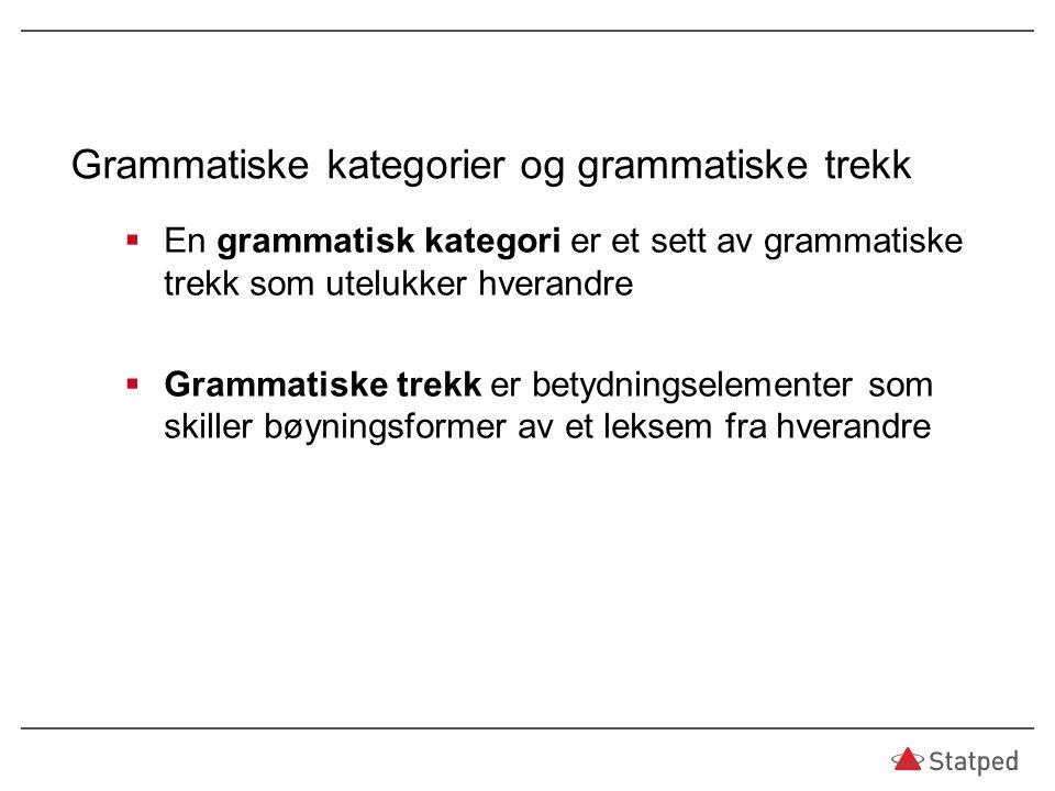 Grammatiske kategorier og grammatiske trekk  En grammatisk kategori er et sett av grammatiske trekk som utelukker hverandre  Grammatiske trekk er be