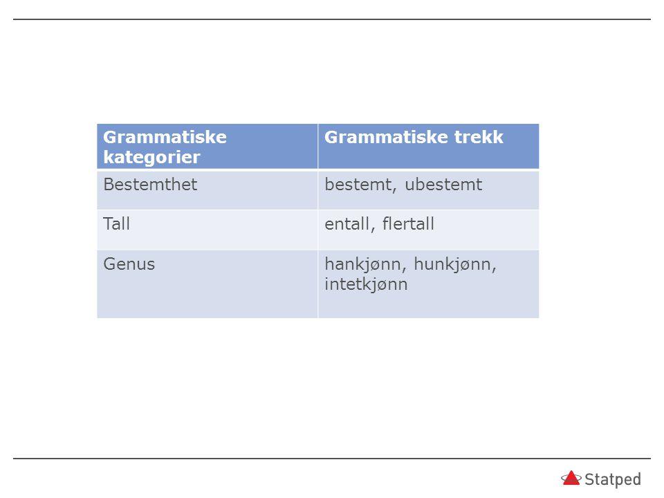 Grammatiske kategorier Grammatiske trekk Bestemthetbestemt, ubestemt Tallentall, flertall Genushankjønn, hunkjønn, intetkjønn