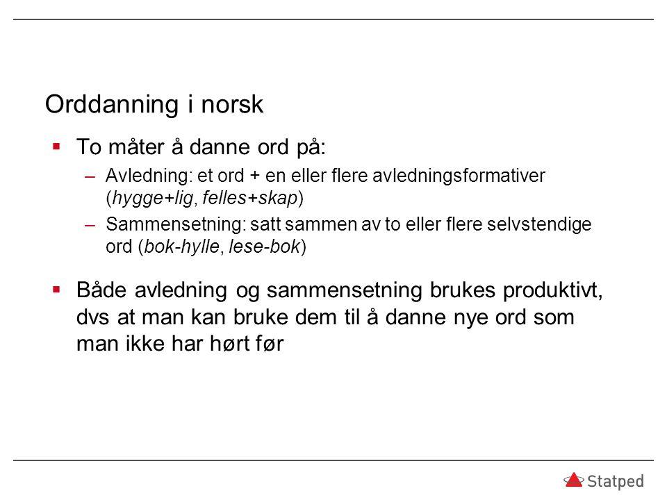 Orddanning i norsk  To måter å danne ord på: –Avledning: et ord + en eller flere avledningsformativer (hygge+lig, felles+skap) –Sammensetning: satt s