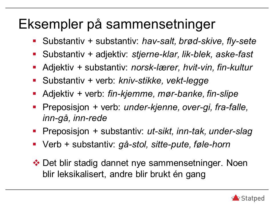 Eksempler på sammensetninger  Substantiv + substantiv: hav-salt, brød-skive, fly-sete  Substantiv + adjektiv: stjerne-klar, lik-blek, aske-fast  Ad